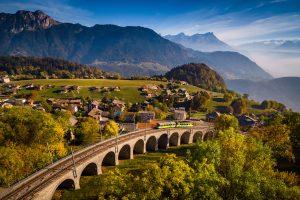 Ligne de train Aigle - Leysin © Valentin Flauraud